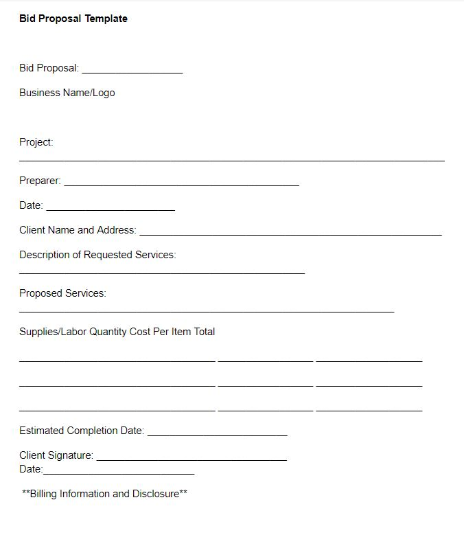 Small Business Bid Proposal Template
