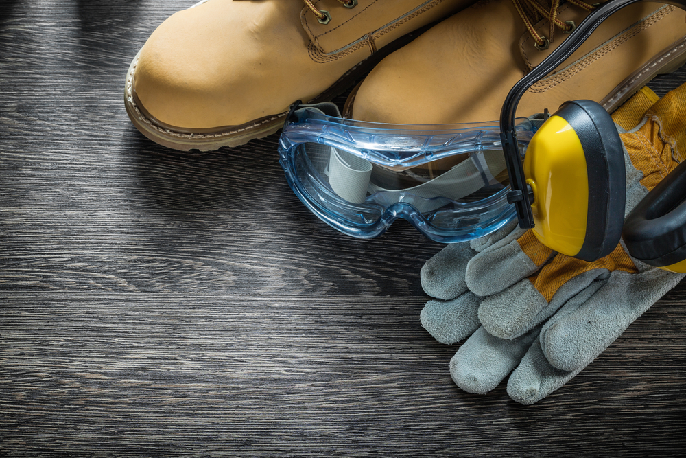 Work Boots, Eye Glasses, Gloves & Yellow Ear Protection
