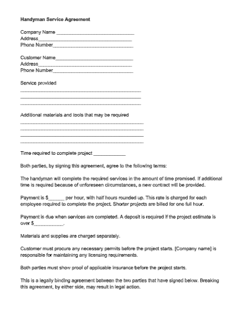 Handyman Service Agreement Template