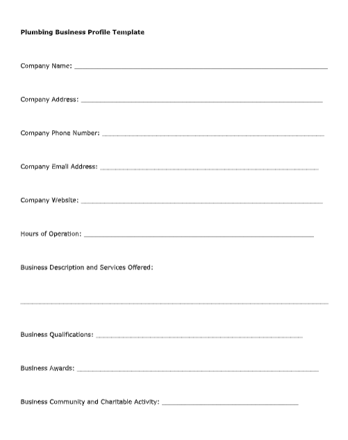 plumbing business profile template