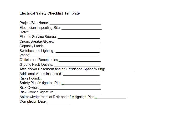 Electrical Safety Checklist Template