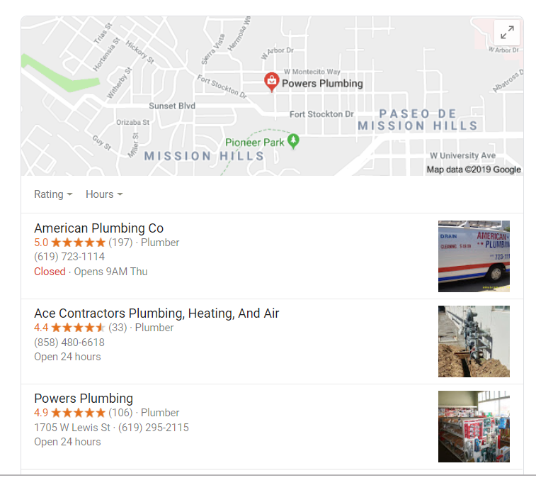 Local search showing san diego plumbers
