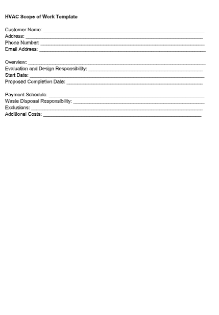 HVAC Scope of Work Template