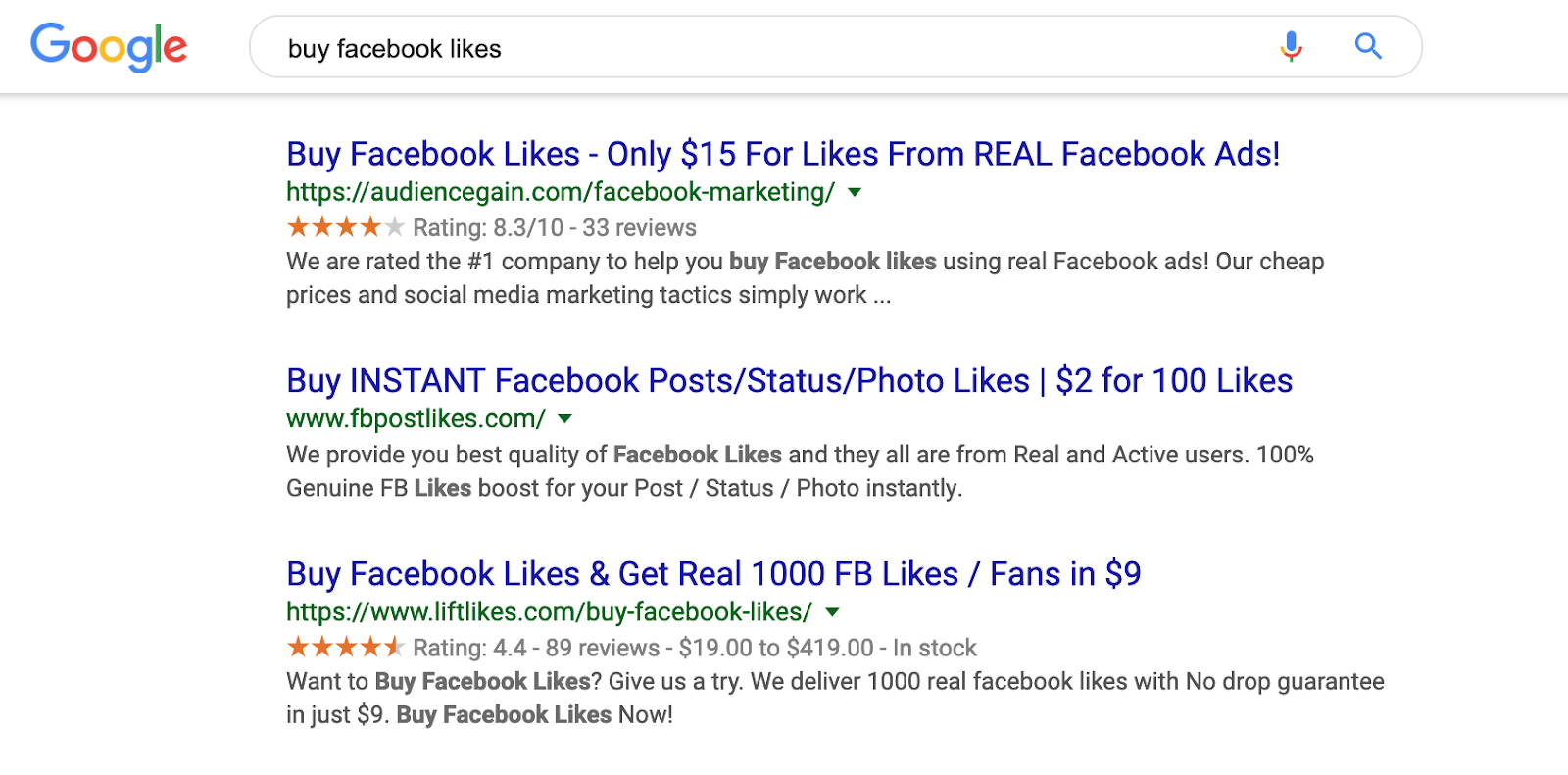 Buy facebook likes risks