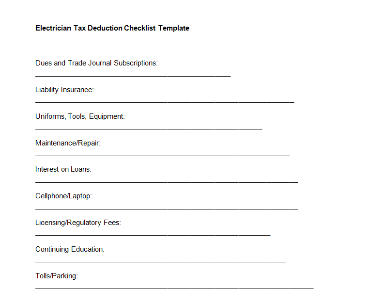 Electrician Tax Deduction Checklist Template