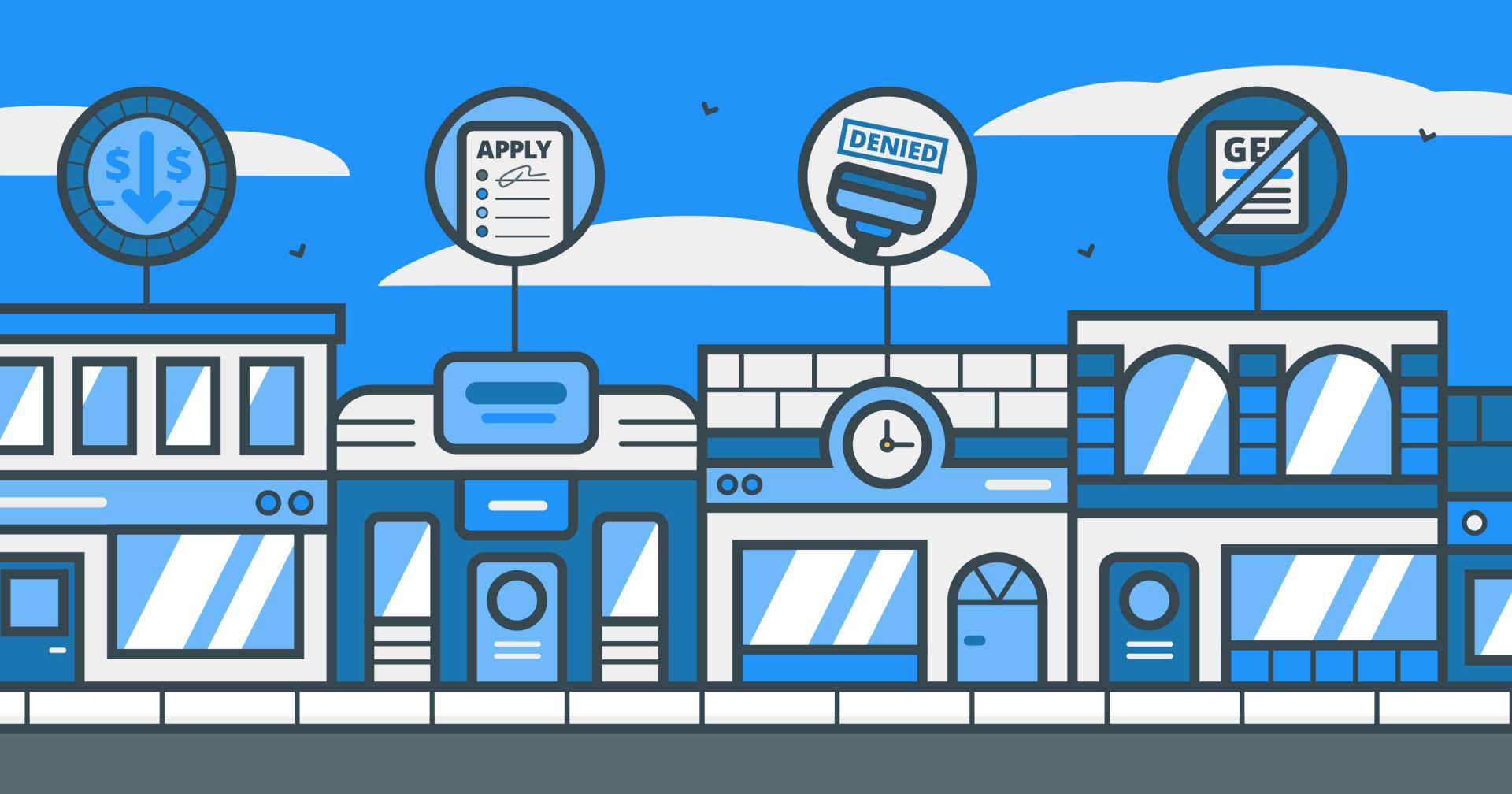 the illustrated main street of retail businesses with icons of their most common struggles