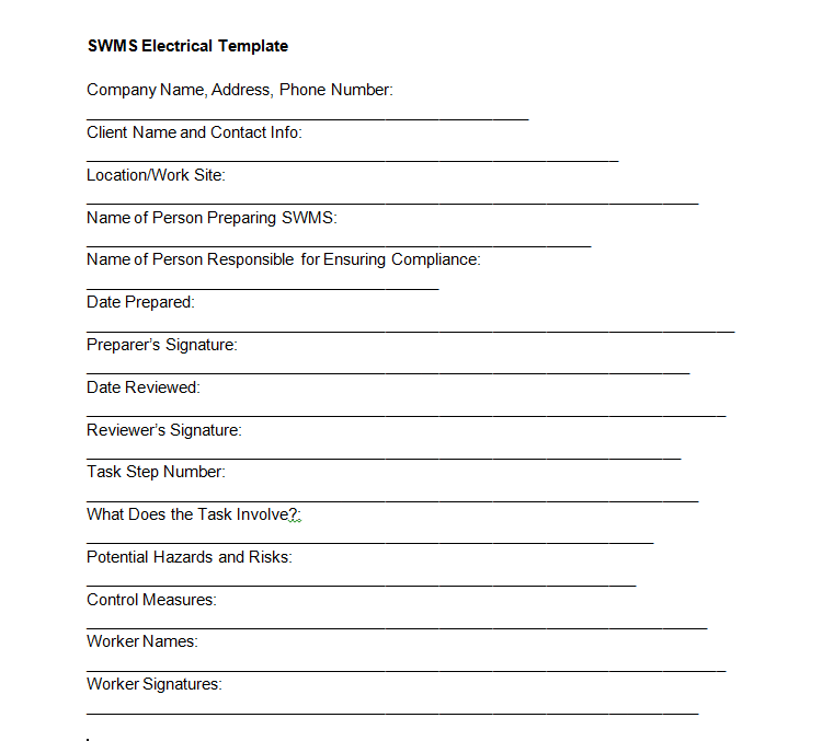 SWMS Electrical Template