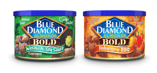 6oz cans Blue Diamond Almonds Wasabi and Soy Sauce and Habanero BBQ
