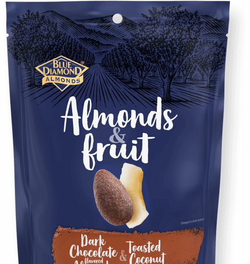 Almonds and Fruit: Dark Chocolate and Toasted Coconut
