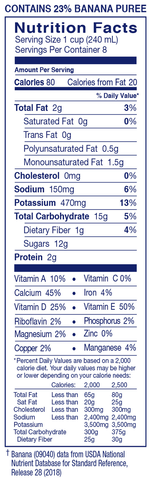 Almond Breeze, Almondmilk Blended With Real Bananas Nutrition Facts