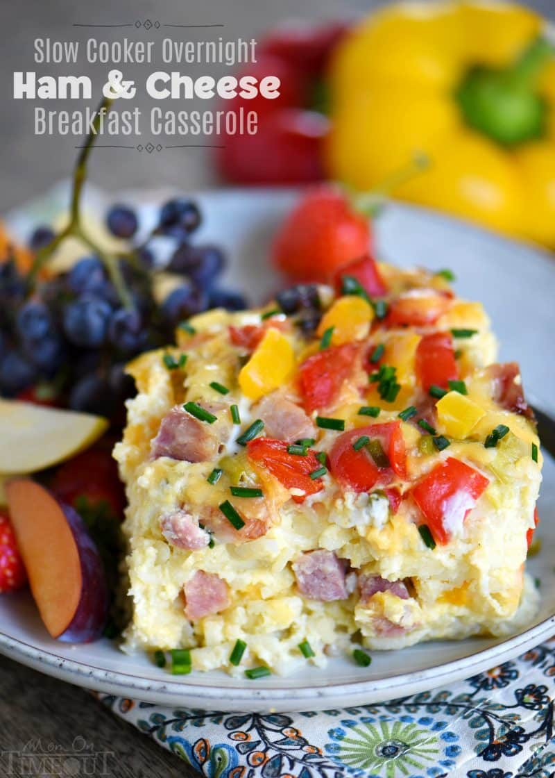 Slow Cooker Overnight Ham & Cheese Breakfast Casserole