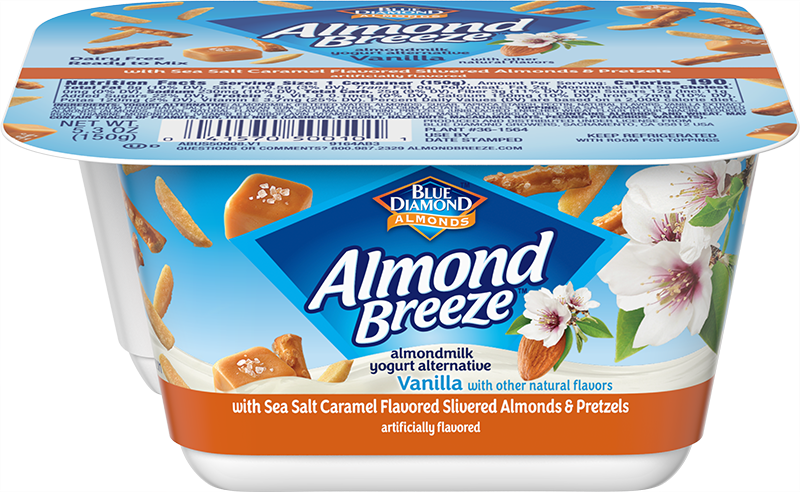Almond Yogurt Alternative + Salted Caramel Flavored Almonds and Pretzels