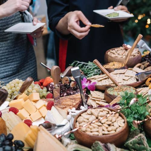 Holiday Snack Table with Cheese, Almonds, and Nut Thins