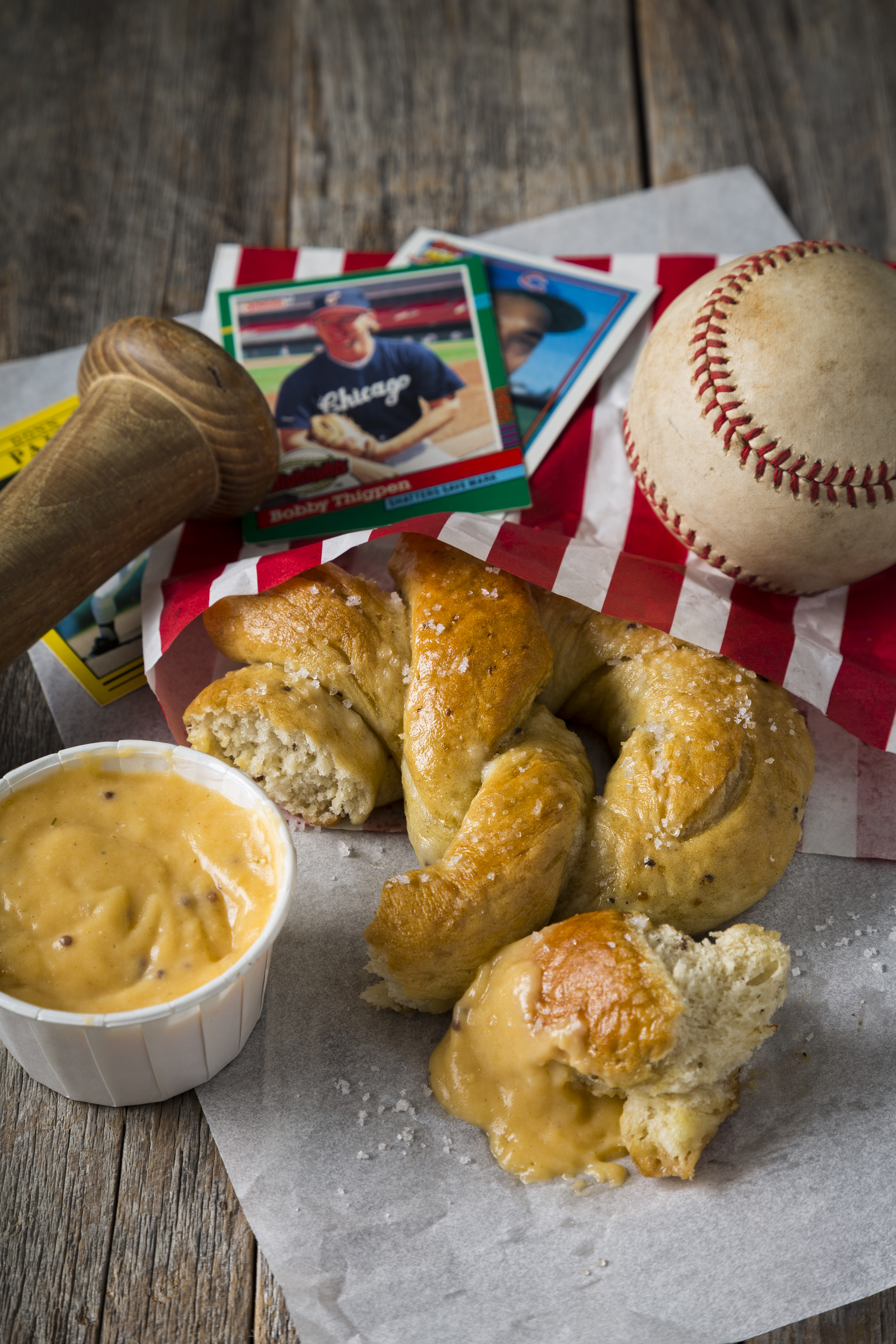 Ballpark Pretzels with Cheddar Mustard Dipping Sauce