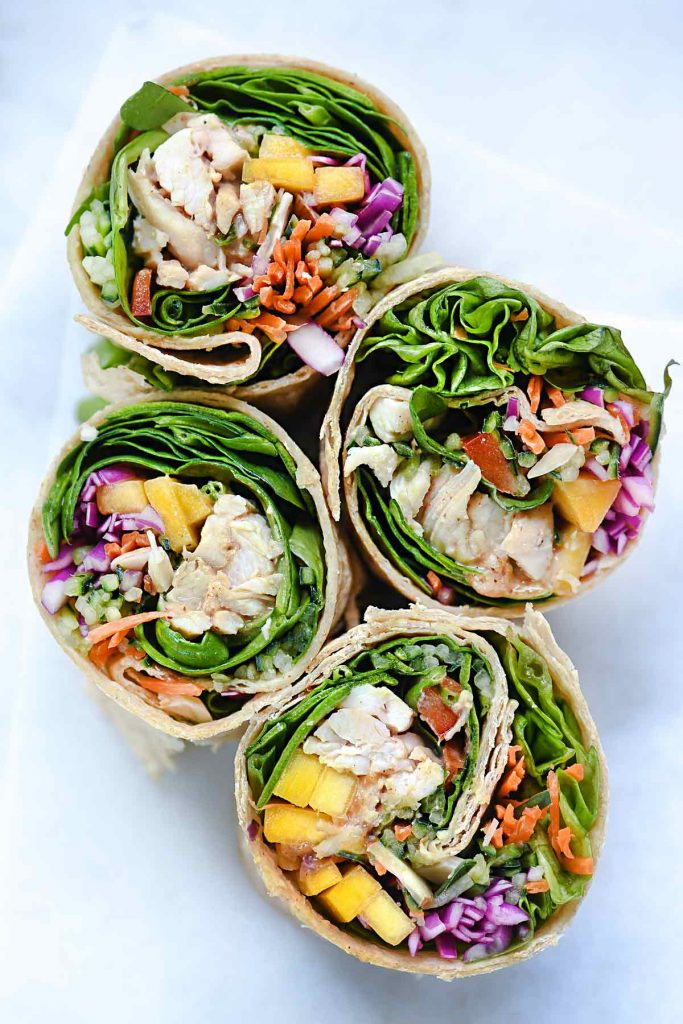 Chicken and Mango Rainbow Veggie Wraps