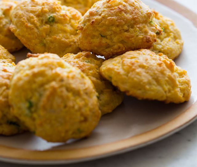Green Onion Cornmeal Biscuits with Havarti Cheese