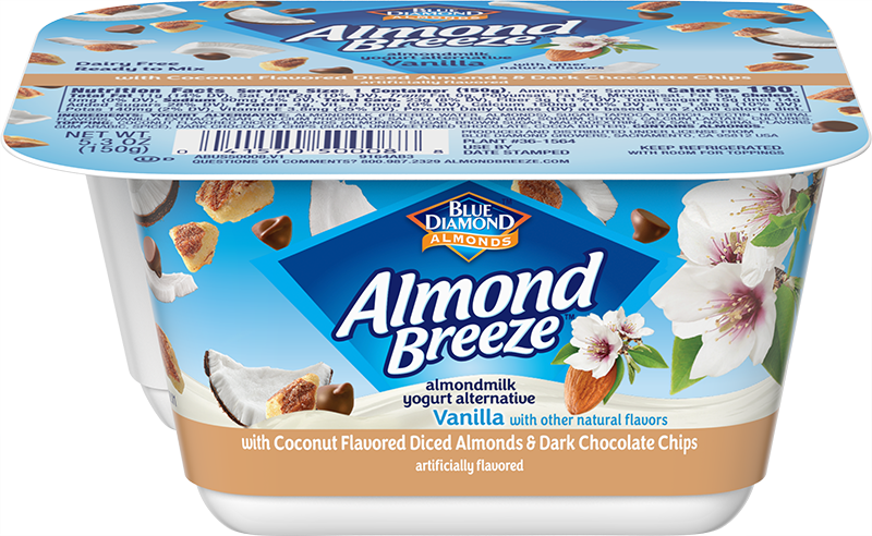 Almondmilk Yogurt Alternative + Coconut Flavored Diced Almonds & Dark Chocolate Chips