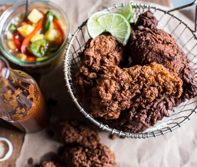 Almond Buttermilk Jamaican Fried Chicken and Pineapple Slaw