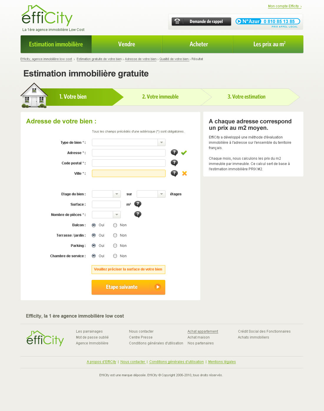 Efficity - Estimation formulaire
