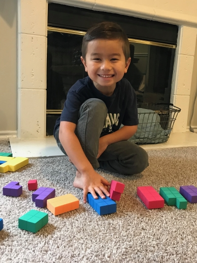 Caleb playing with blocks 3