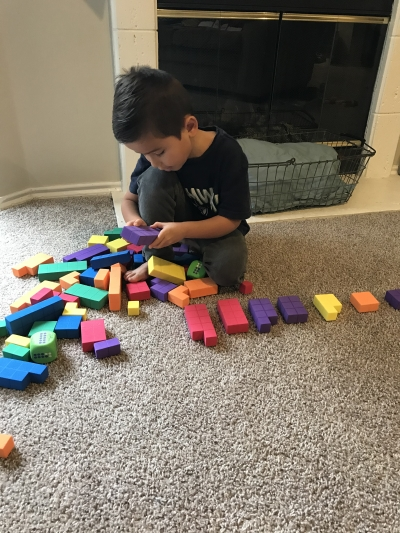 Caleb playing with blocks 2
