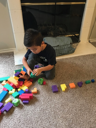 Caleb playing with blocks 1