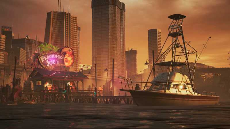 Computer generated image of a both at sunset with a marina bar.  - Homepage / cinematics