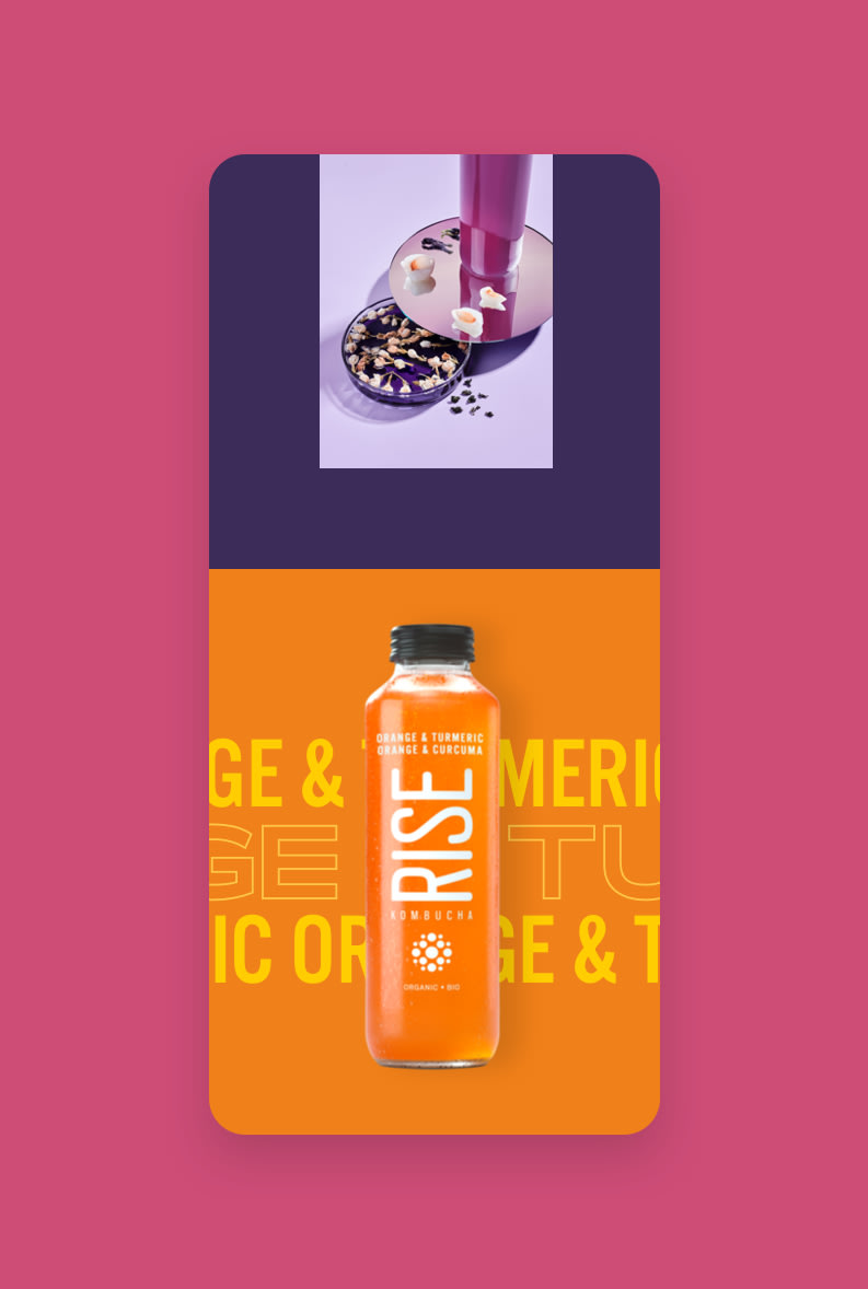 Mobile Mockups for Rise Kombucha new flavours microsite