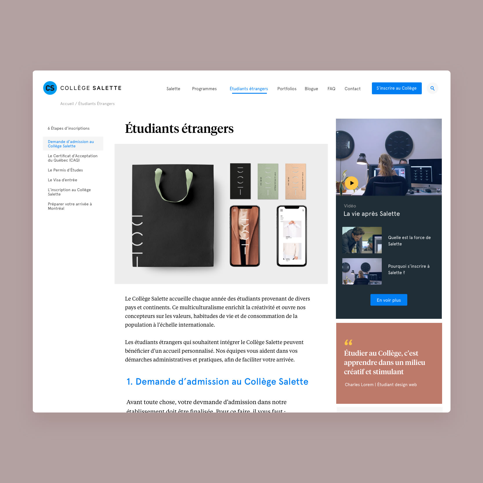 MILL3 landing page tool mobile mockups for College Salette WordPress CMS