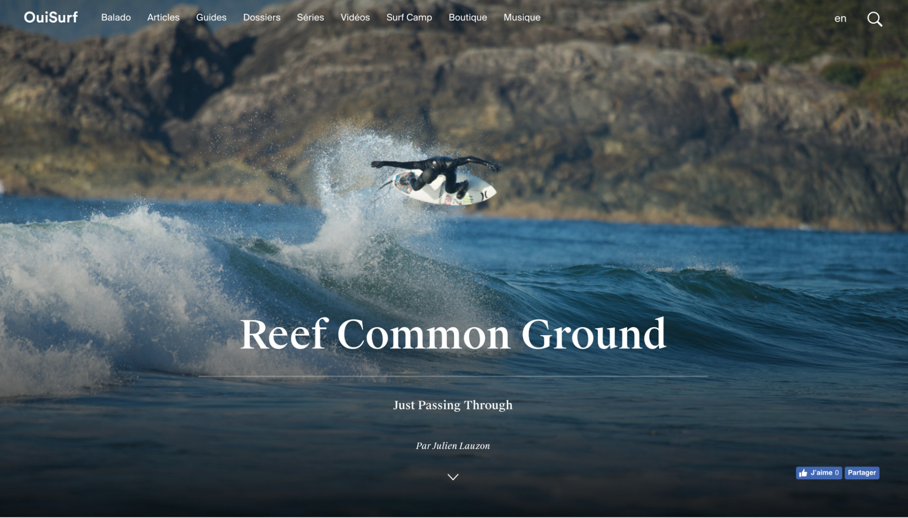 MILL3 mockups for OuiSurf longform section displaying surf air tricks in Reef Canada movie Common Ground