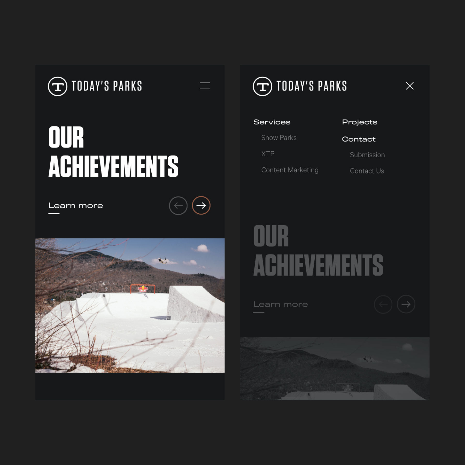 Mobile site UI / UX Today's Parks home page