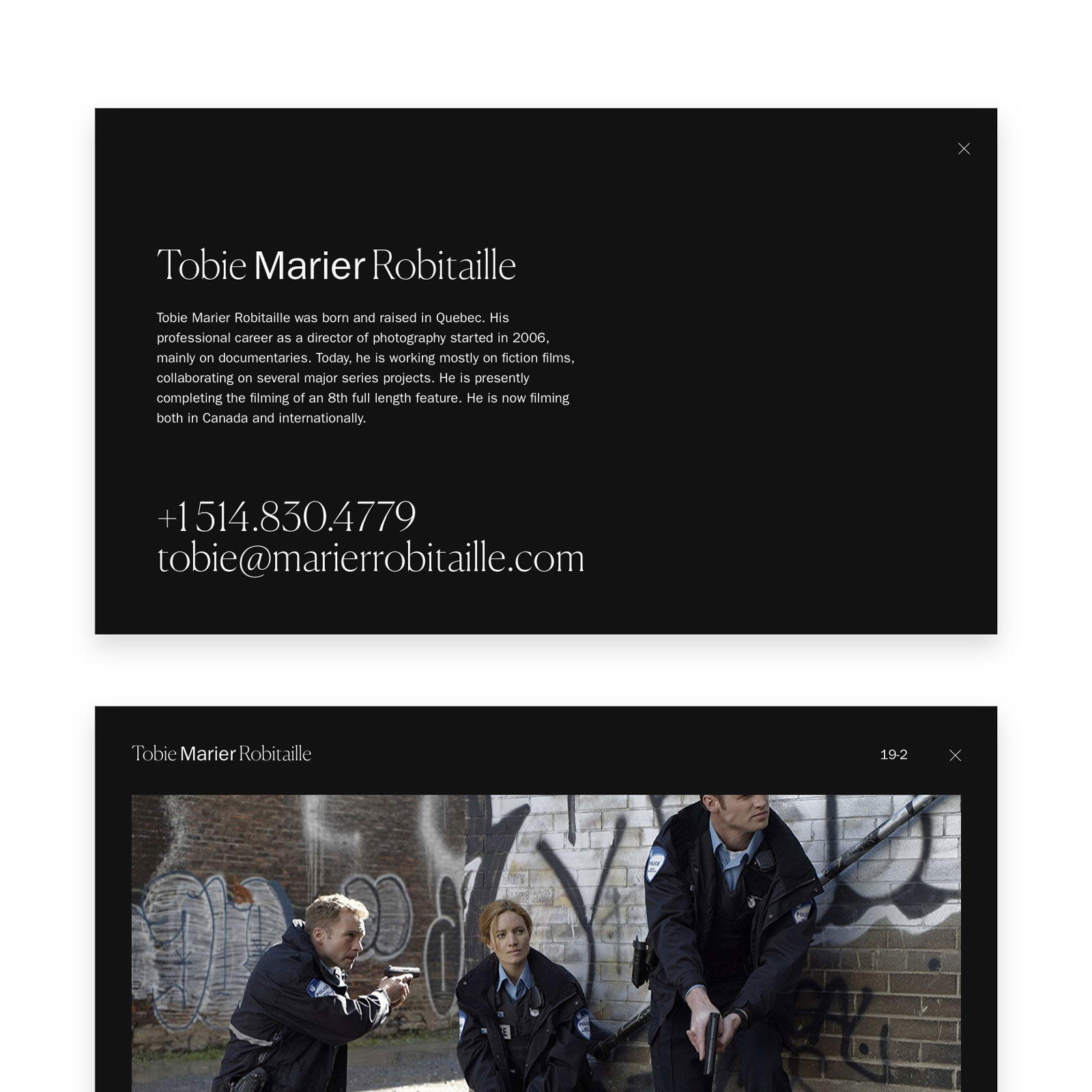 MILL3 homepage desktop mockup for tobie marier robitaille showcase website