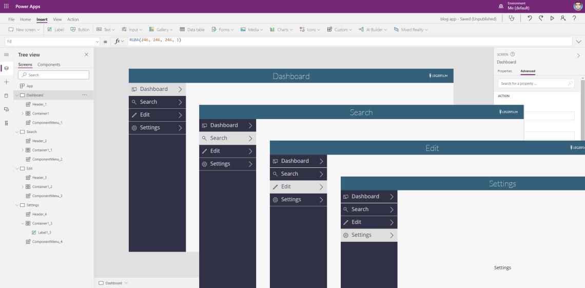 PowerApps Canvas app: part I - creating a reusable menu component