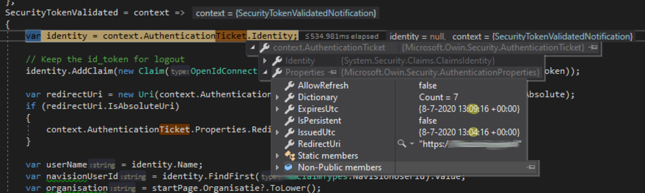 Screenshot: AuthenticationTicket.Properties.IssuedUtc / ExpiresUtc