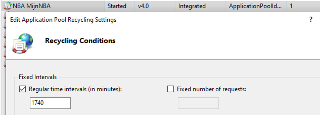Screenshot: IIS app pool recycling interval