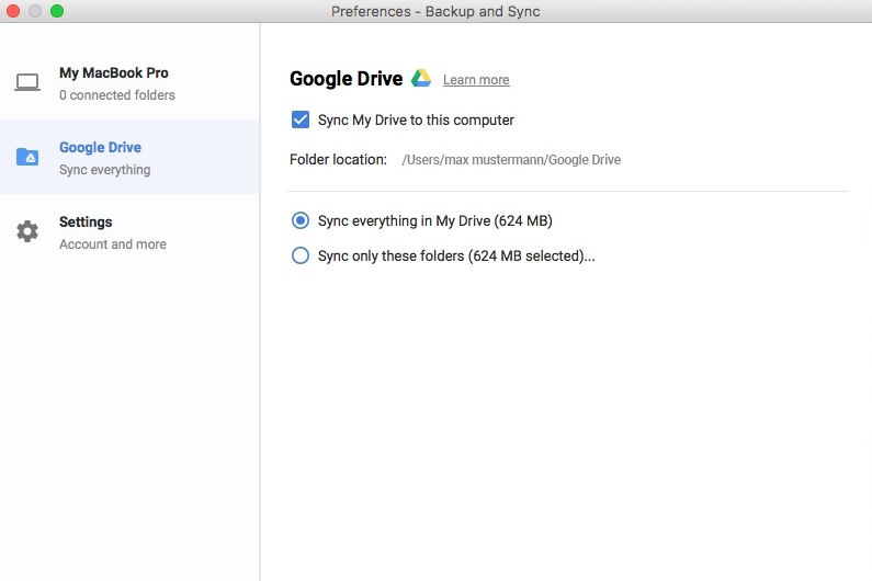 how to set up google backup and sync