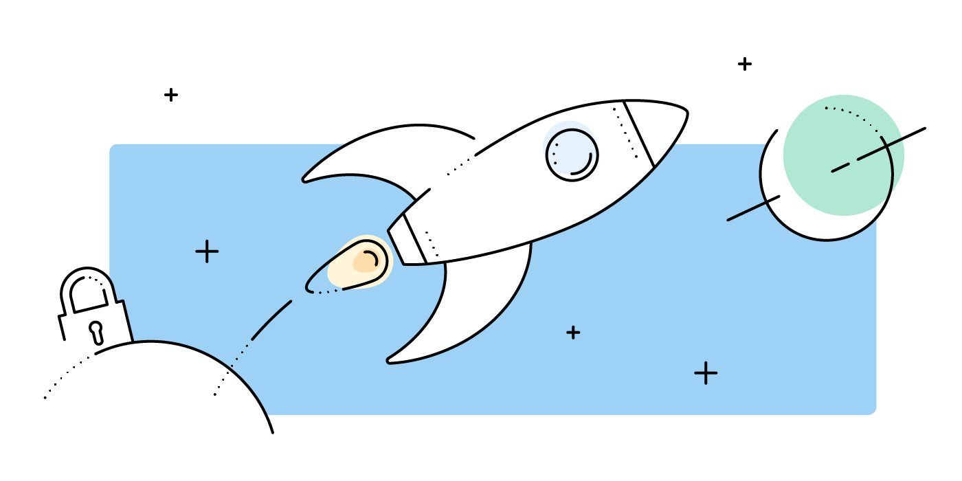 Graphic of a rocket as a symbol for Boxcryptor's mission in encryption