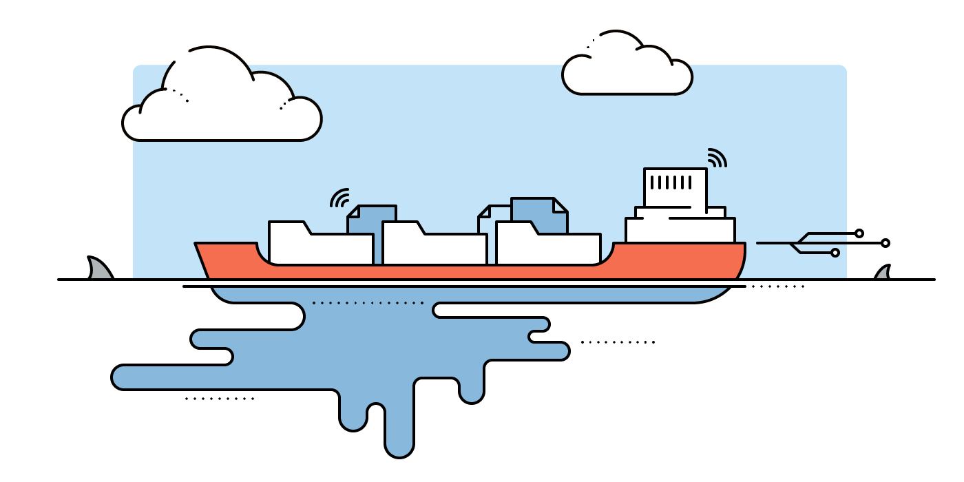 Cargo ship – a symbol image for a data leak.