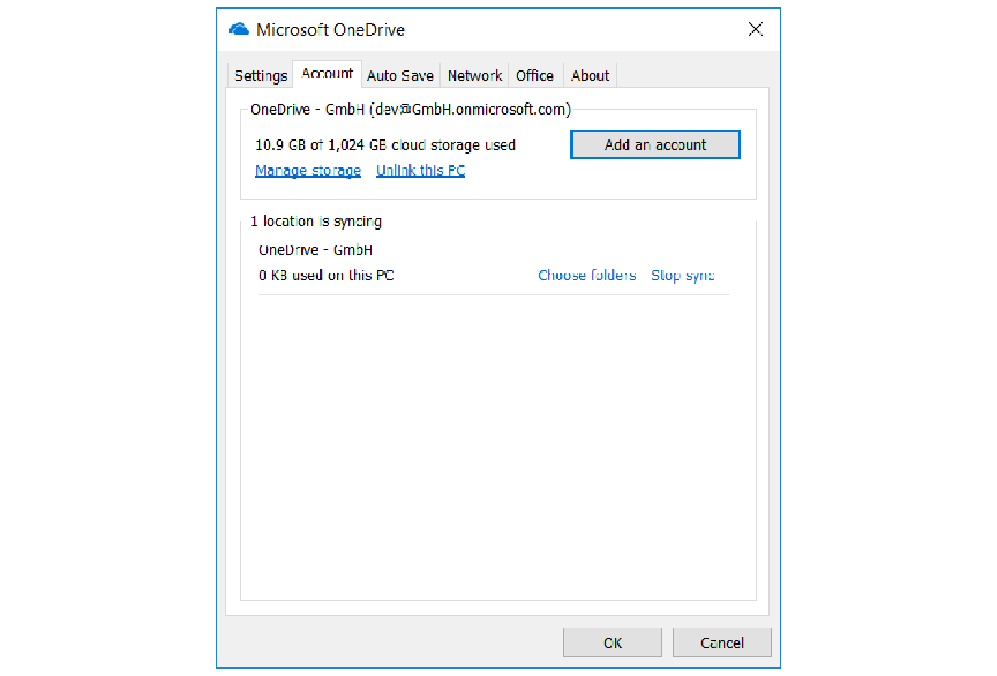OneDrive for Business client Account ribbon