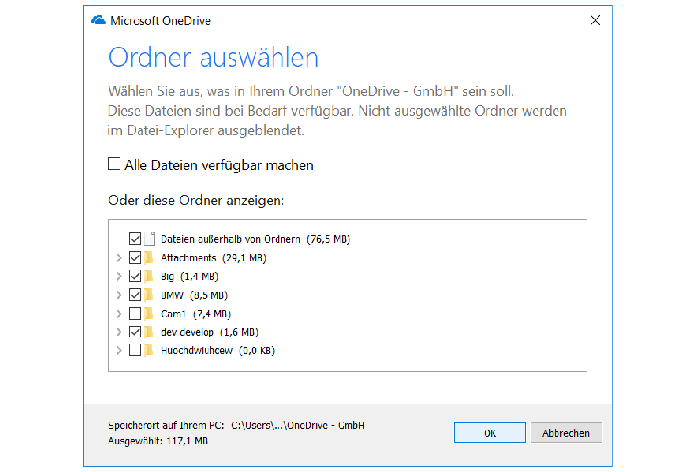 One Drive for Business client Ordner auswählen