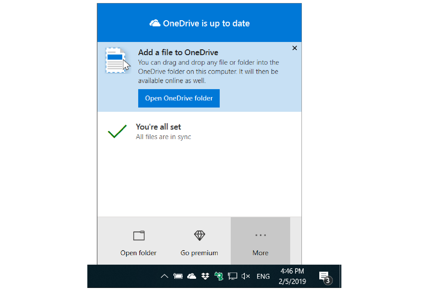 How to open the settings in the OneDrive Personal client
