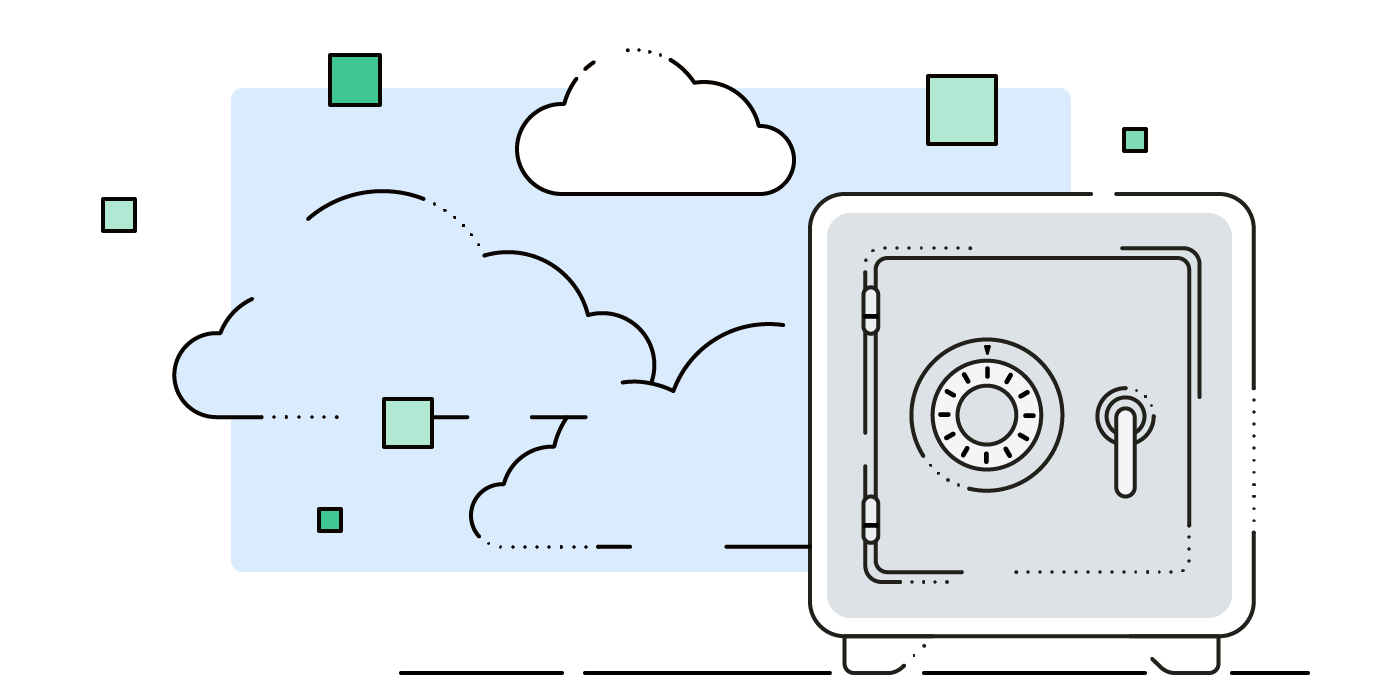 Graphic with tresor and clouds: symbol for providers supported by Boxcryptor