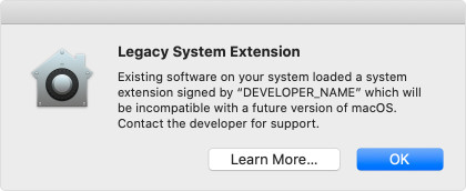macOS Legacy System Extension Message