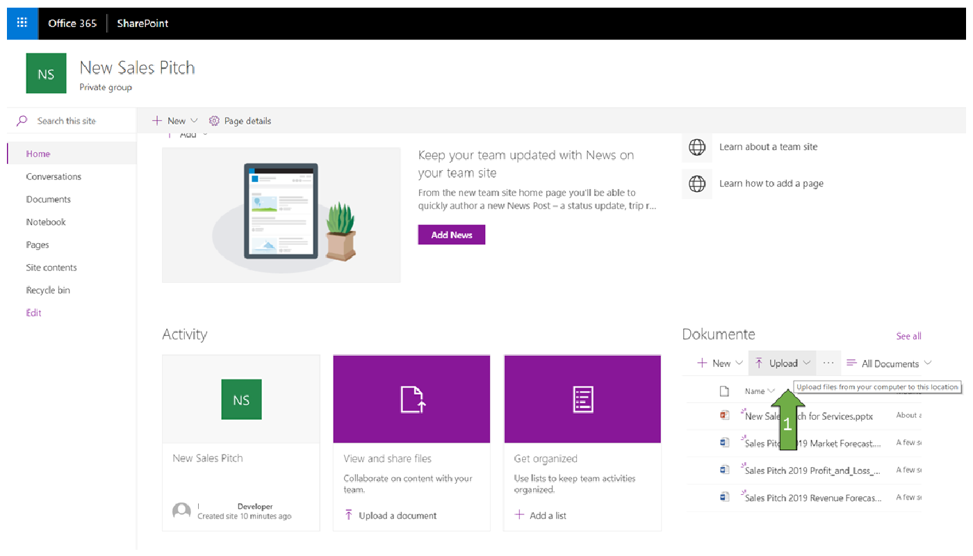 How to upload a document to a SharePoint site