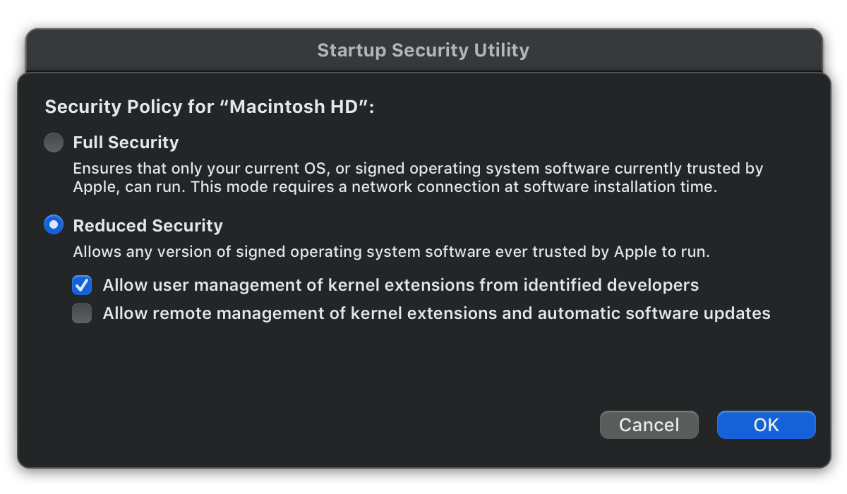 Help Recovery Mode Security Policy Apple Silicon