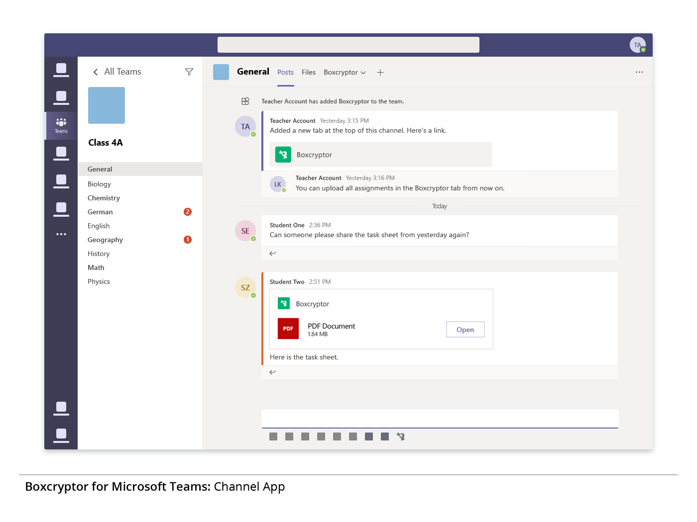 Preview of the integration of the encryption solution Boxcryptor in a Microsoft Teams virtual classroom.