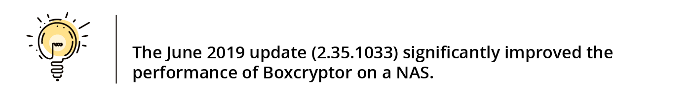With the update 2.35.1033 in June 2019 the performance of Boxcryptor on NAS has been noticeably improved again.