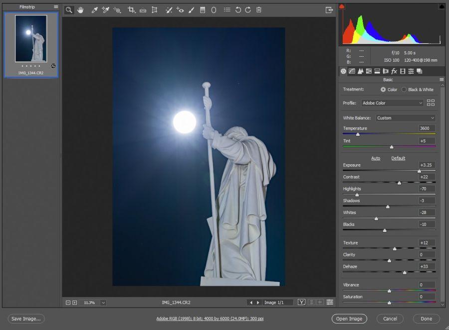 Kuvakaappaus Photoshopista, kuvassa näkyy kuvankäsittelyssä käytetyt asetukset