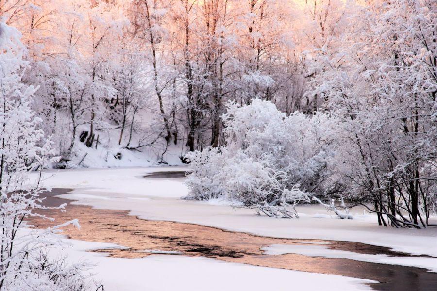 Lumen peittämä talvimaisema Leoujoella