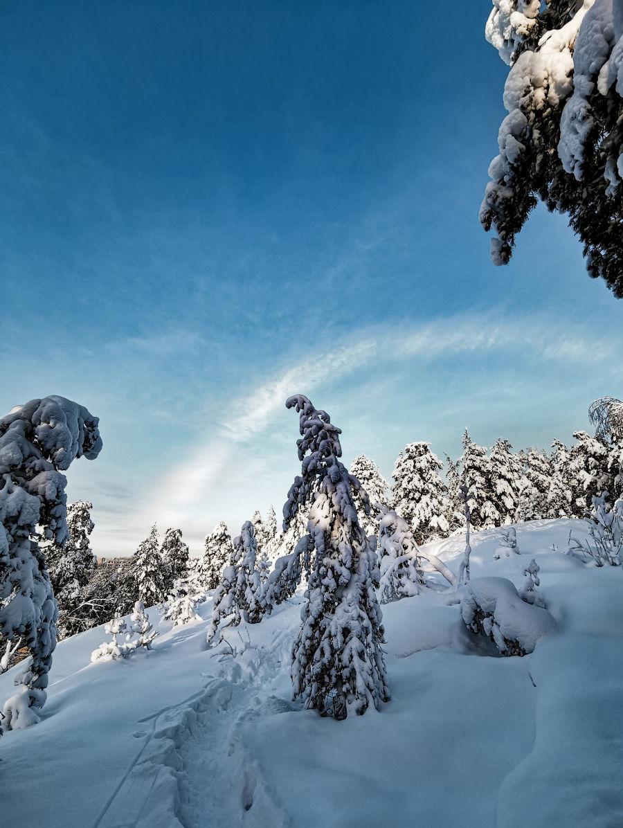 Luminen talvimaisema, jonka päällä näkyy sateenkaaren muotoinen pilvi